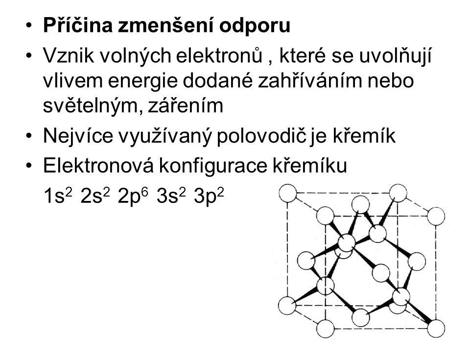 Příčina zmenšení odporu Vznik volných elektronů, které se uvolňují vlivem energie dodané zahříváním nebo světelným, zářením Nejvíce využívaný polovodi