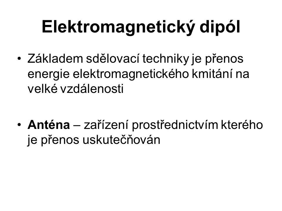 Elektromagnetický dipól Základem sdělovací techniky je přenos energie elektromagnetického kmitání na velké vzdálenosti Anténa – zařízení prostřednictv