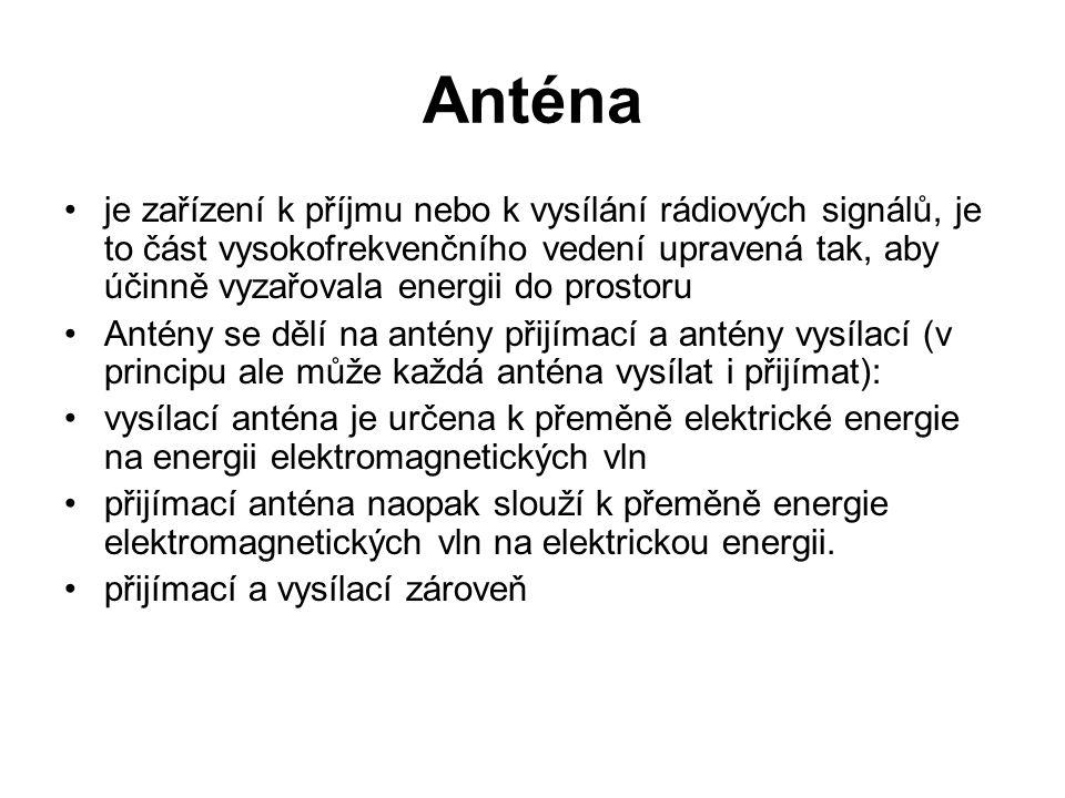 Anténa je zařízení k příjmu nebo k vysílání rádiových signálů, je to část vysokofrekvenčního vedení upravená tak, aby účinně vyzařovala energii do pro