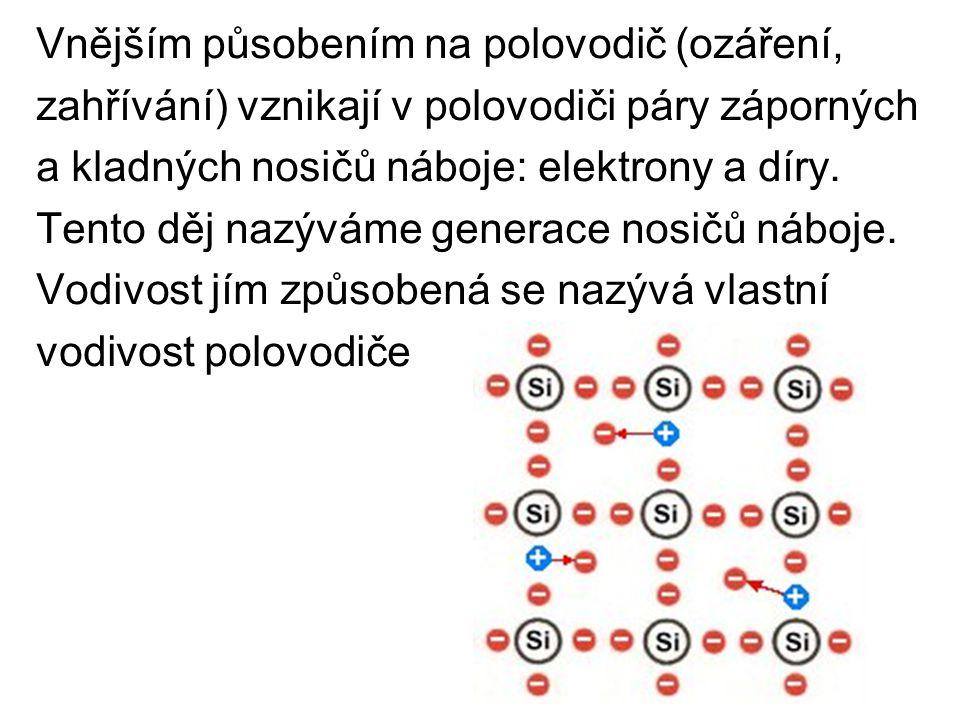 Poloha díry v krystalu se mění V místě díry se zachytí volný elektron a naopak v jiném místě díry uvolněním elektronu vznikne Při zvýšení teploty vznikají další nosiče náboje a vodivost polovodiče se zvětšuje