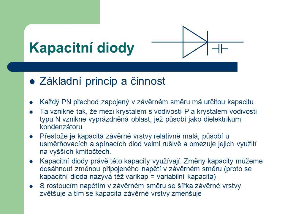Kapacitní diody Základní princip a činnost Každý PN přechod zapojený v závěrném směru má určitou kapacitu. Ta vznikne tak, že mezi krystalem s vodivos
