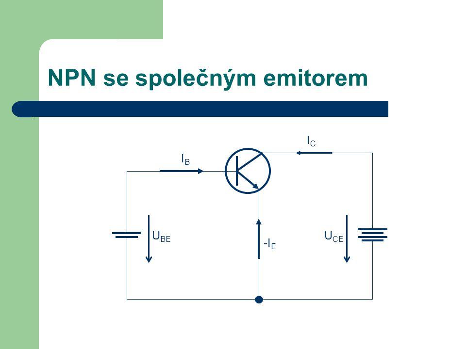 NPN se společným emitorem U BE U CE -I E IBIB ICIC