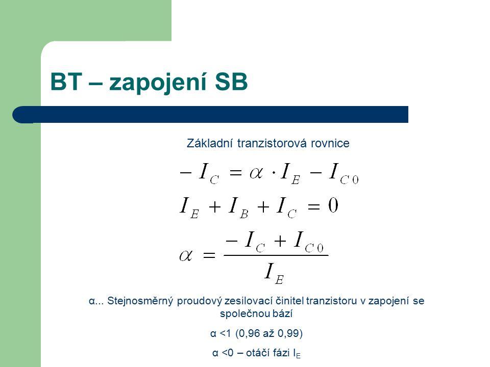 BT – zapojení SB Základní tranzistorová rovnice α... Stejnosměrný proudový zesilovací činitel tranzistoru v zapojení se společnou bází α <1 (0,96 až 0