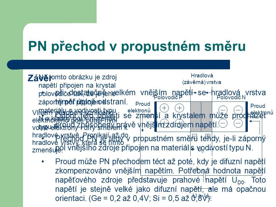 PN přechod v závěrném směru Na obrázku je zdroj napětí připojen svým kladným pólem k materiálu typu N a záporným pólem k materiálu typu P.