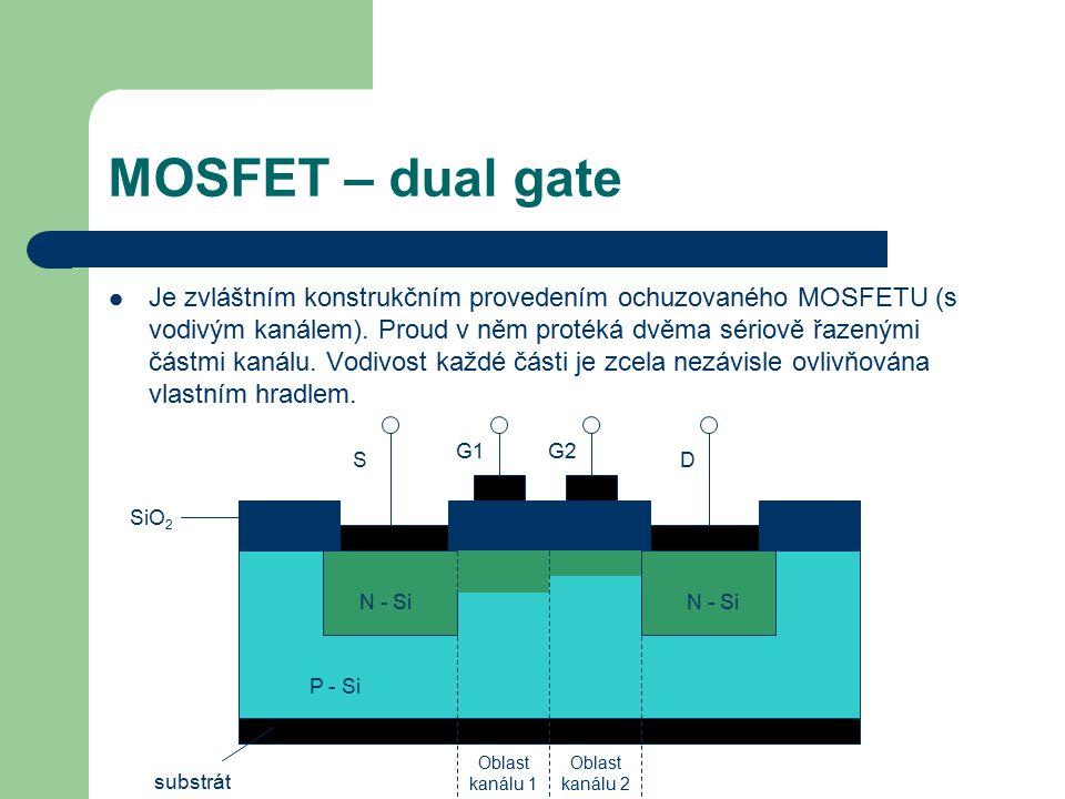 MOSFET – dual gate Je zvláštním konstrukčním provedením ochuzovaného MOSFETU (s vodivým kanálem). Proud v něm protéká dvěma sériově řazenými částmi ka