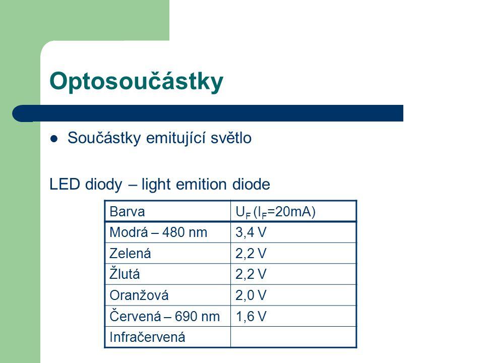 Optosoučástky Součástky emitující světlo LED diody – light emition diode BarvaU F (I F =20mA) Modrá – 480 nm3,4 V Zelená2,2 V Žlutá2,2 V Oranžová2,0 V