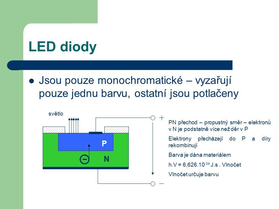 LED diody Jsou pouze monochromatické – vyzařují pouze jednu barvu, ostatní jsou potlačeny světlo P N PN přechod – propustný směr – elektronů v N je po