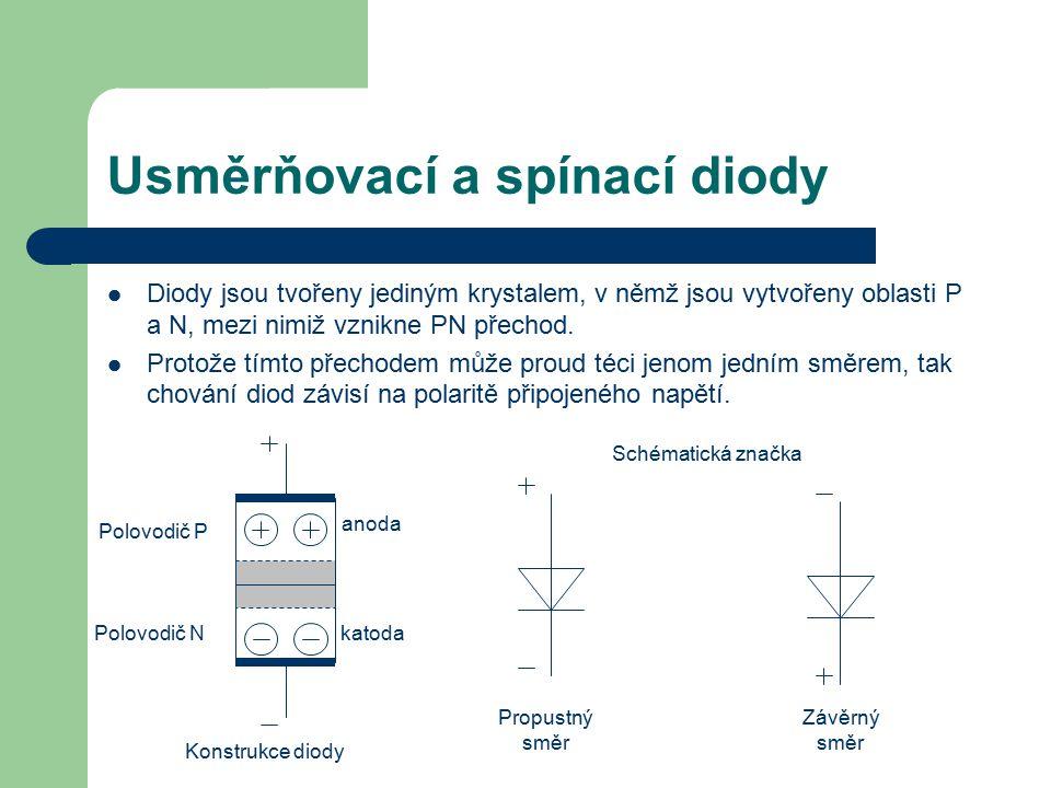 Usměrňovací a spínací diody Diody jsou tvořeny jediným krystalem, v němž jsou vytvořeny oblasti P a N, mezi nimiž vznikne PN přechod. Protože tímto př