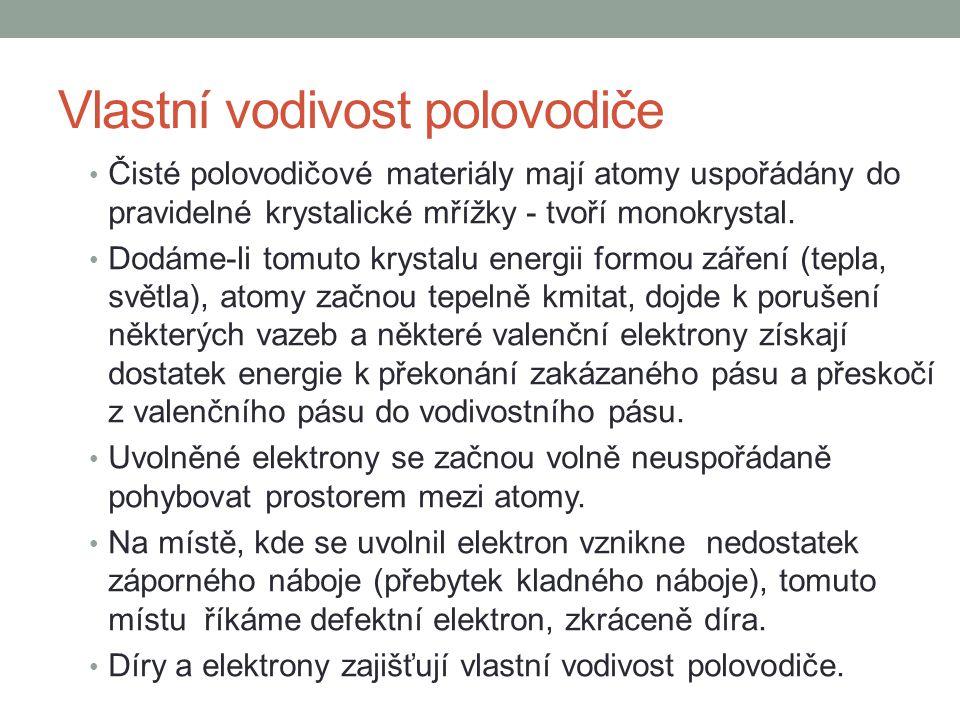 Nevlastní vodivost polovodiče Nevlastní vodivost polovodiče vzniká pomocí příměsí.