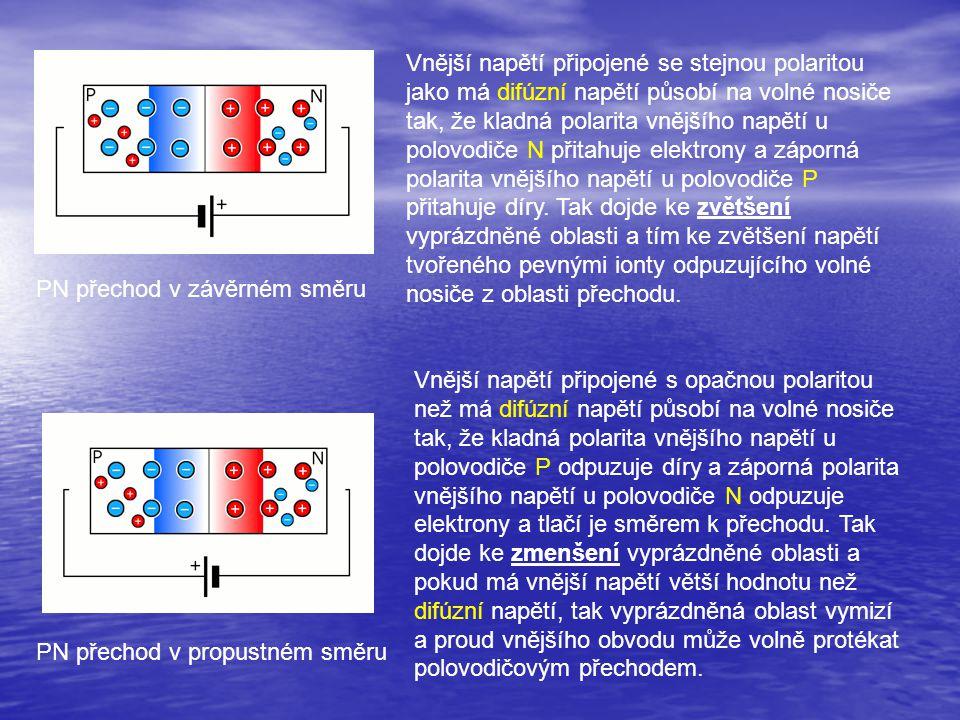 PN přechod v závěrném směru PN přechod v propustném směru Vnější napětí připojené se stejnou polaritou jako má difúzní napětí působí na volné nosiče t