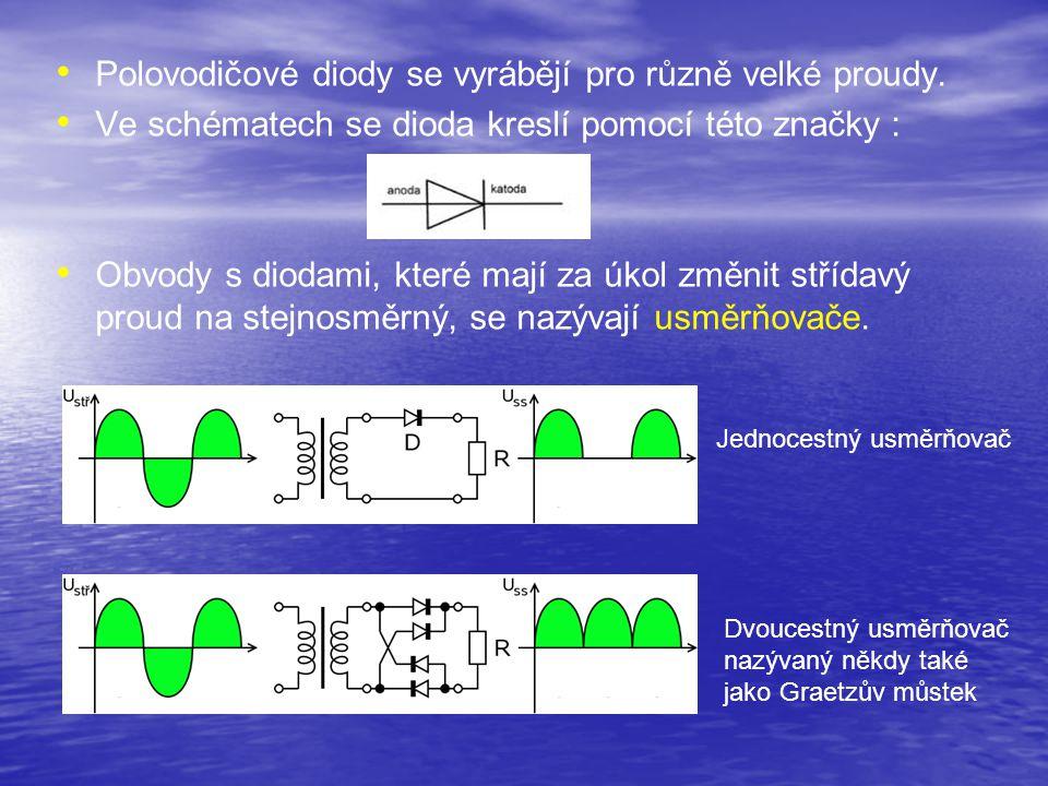 Polovodičové diody se vyrábějí pro různě velké proudy. Ve schématech se dioda kreslí pomocí této značky : Obvody s diodami, které mají za úkol změnit