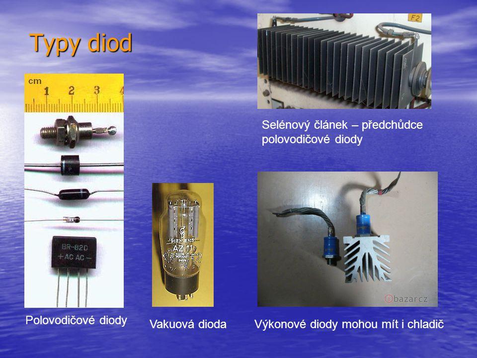 Typy diod Vakuová dioda Polovodičové diody Výkonové diody mohou mít i chladič Selénový článek – předchůdce polovodičové diody