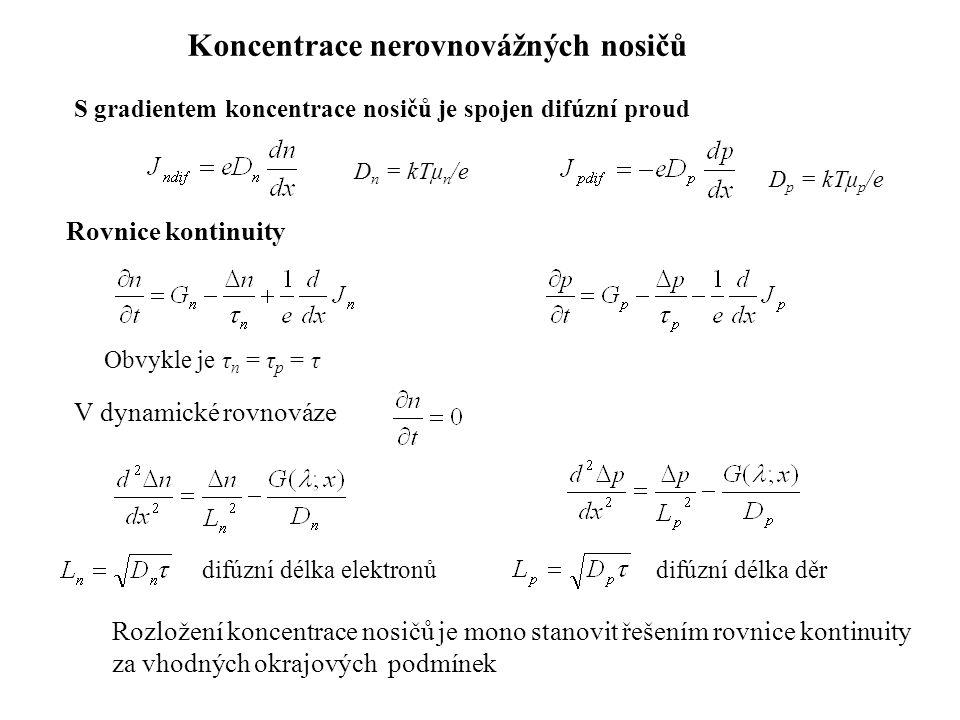 Koncentrace nerovnovážných nosičů S gradientem koncentrace nosičů je spojen difúzní proud D n = kTμ n /e D p = kTμ p /e Rovnice kontinuity V dynamické