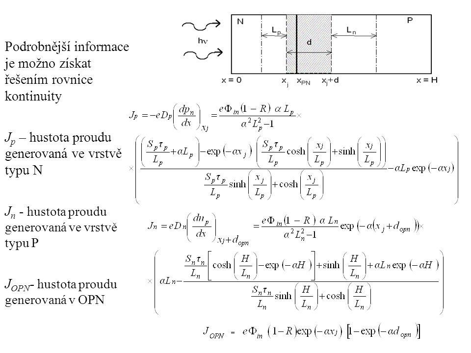 Podrobnější informace je možno získat řešením rovnice kontinuity J p – hustota proudu generovaná ve vrstvě typu N J n - hustota proudu generovaná ve v