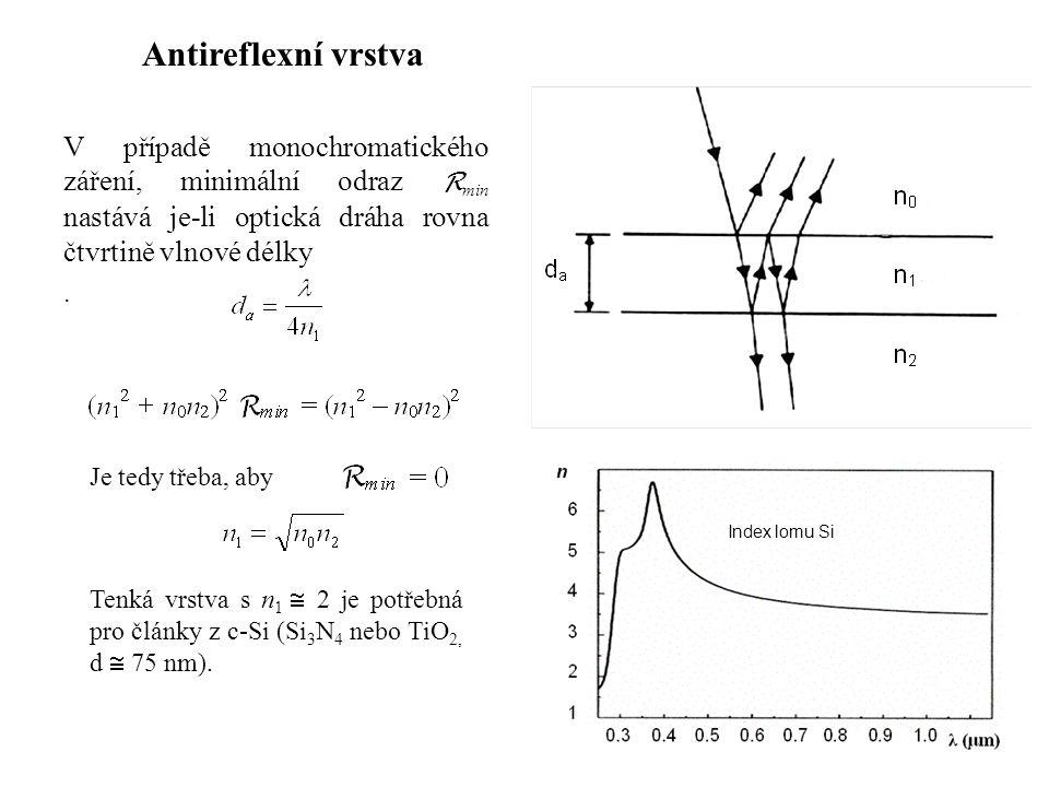 V případě monochromatického záření, minimální odraz R min nastává je-li optická dráha rovna čtvrtině vlnové délky. Antireflexní vrstva Je tedy třeba,