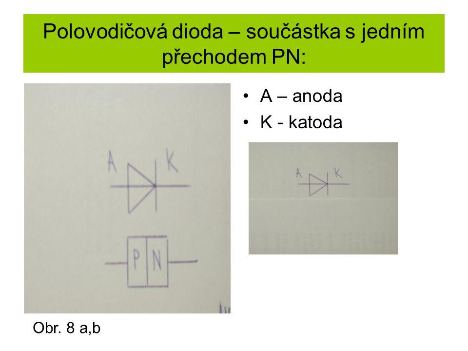 Polovodičová dioda – součástka s jedním přechodem PN: A – anoda K - katoda Obr. 8 a,b