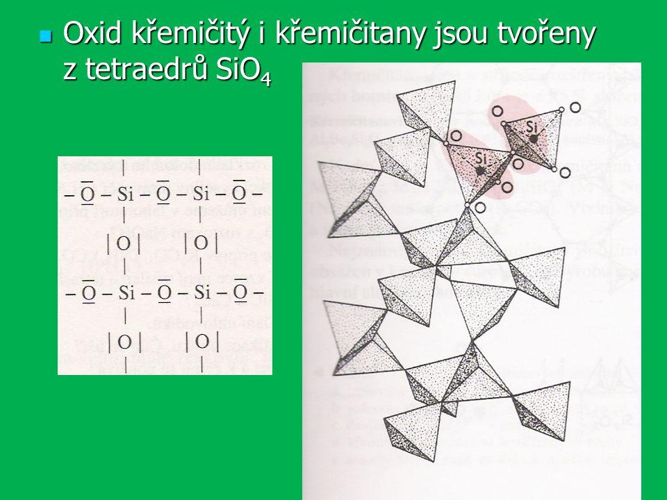 Oxid křemičitý i křemičitany jsou tvořeny z tetraedrů SiO 4 Oxid křemičitý i křemičitany jsou tvořeny z tetraedrů SiO 4