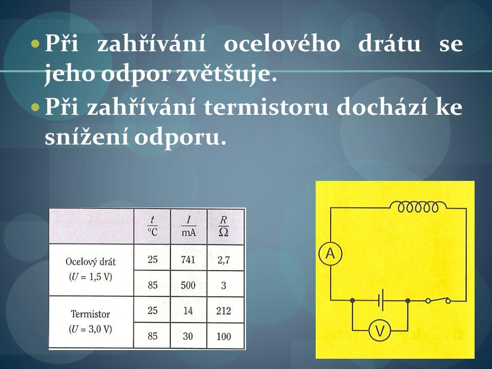 Graf závislosti: zvýšíme-li teplotu, sníží se odpor u TERMISTORU (polovodičů).