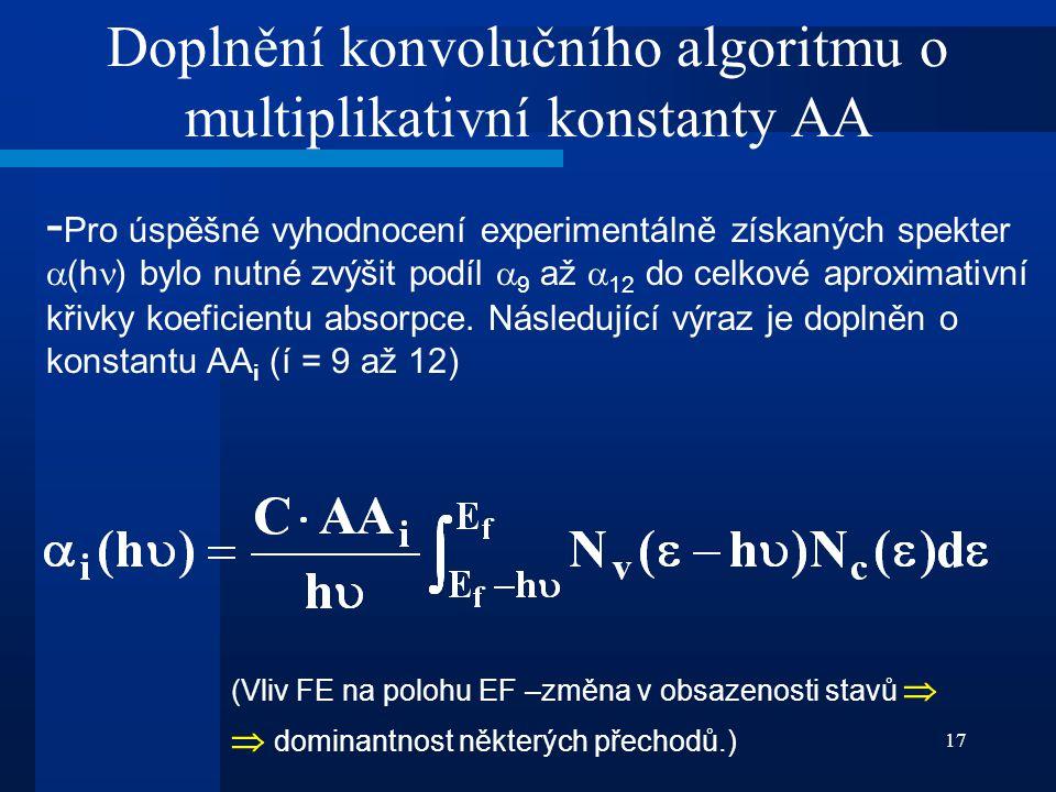 17 Doplnění konvolučního algoritmu o multiplikativní konstanty AA - Pro úspěšné vyhodnocení experimentálně získaných spekter  (h ) bylo nutné zvýšit