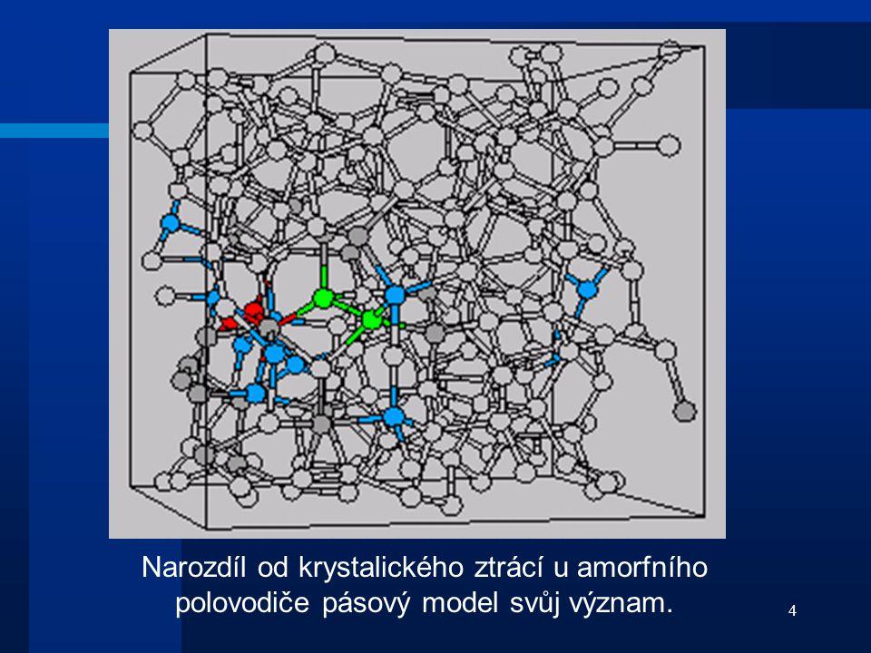 4 Narozdíl od krystalického ztrácí u amorfního polovodiče pásový model svůj význam.
