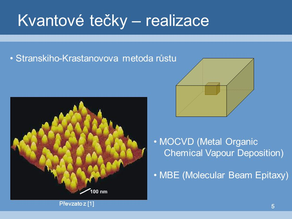 5 Kvantové tečky – realizace Převzato z [1] MOCVD (Metal Organic Chemical Vapour Deposition) MBE (Molecular Beam Epitaxy) Stranskiho-Krastanovova meto