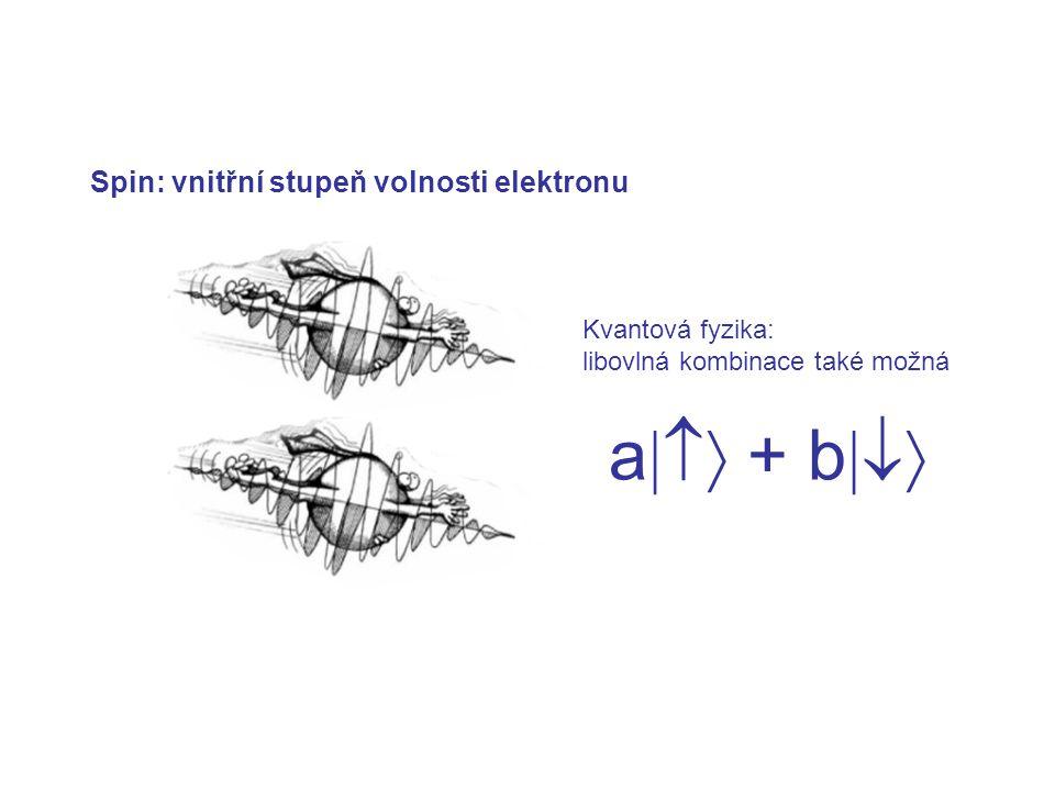 Spin: vnitřní stupeň volnosti elektronu Kvantová fyzika: libovlná kombinace také možná a  + b 