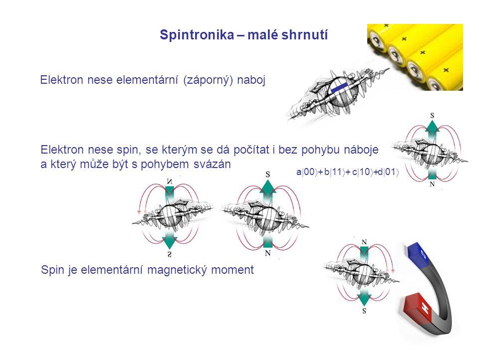 Spintronika – malé shrnutí Elektron nese elementární (záporný) naboj Elektron nese spin, se kterým se dá počítat i bez pohybu náboje a který může být s pohybem svázán a  00  +b  11  +c  10  +d  01  Spin je elementární magnetický moment