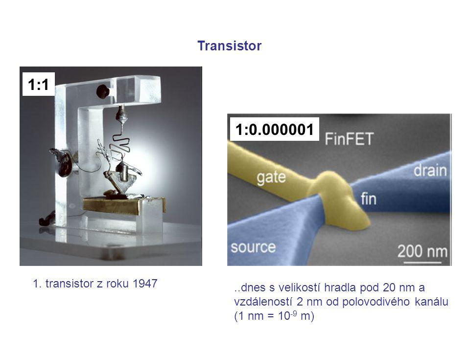 1. transistor z roku 1947..dnes s velikostí hradla pod 20 nm a vzdáleností 2 nm od polovodivého kanálu (1 nm = 10 -9 m) Transistor 1:1 1:0.000001