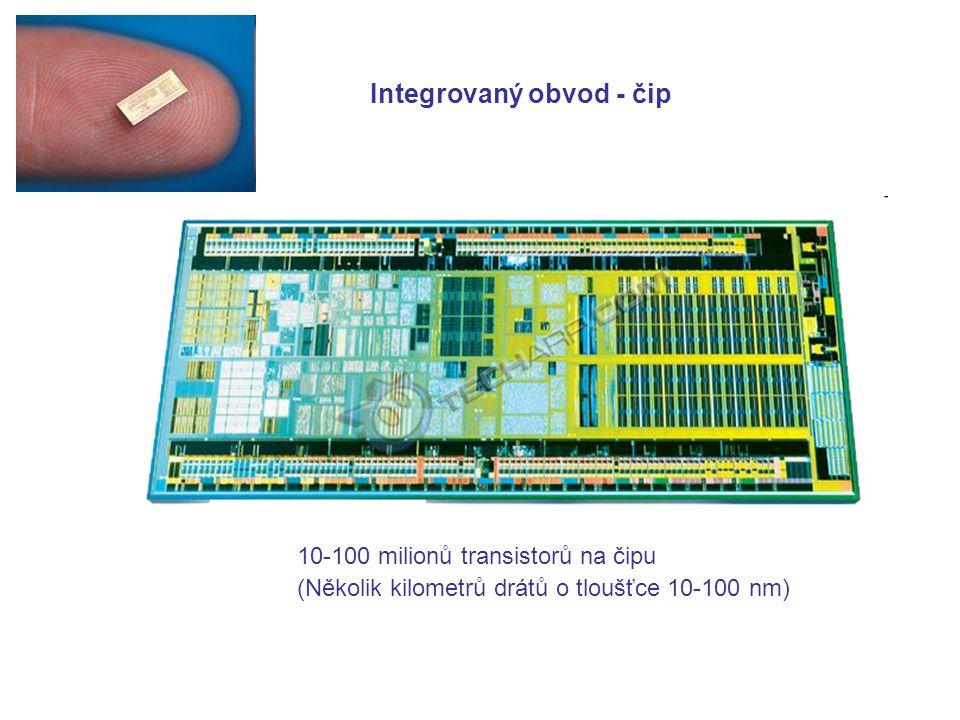 (Několik kilometrů drátů o tloušťce 10-100 nm) 10-100 milionů transistorů na čipu Integrovaný obvod - čip