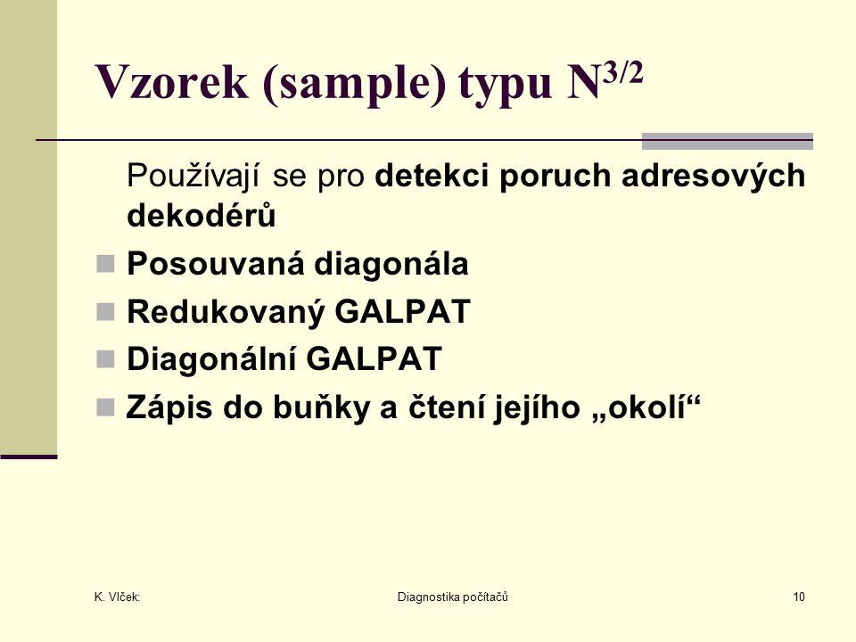 K. Vlček: Diagnostika počítačů10 Vzorek (sample) typu N 3/2 Používají se pro detekci poruch adresových dekodérů Posouvaná diagonála Redukovaný GALPAT