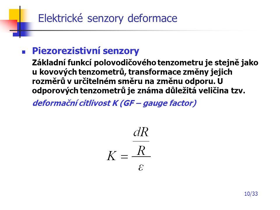 10/33 Elektrické senzory deformace Piezorezistivní senzory Základní funkcí polovodičového tenzometru je stejně jako u kovových tenzometrů, transformac
