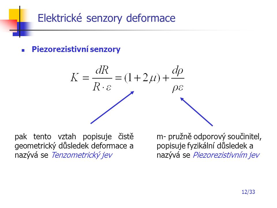 12/33 Elektrické senzory deformace Piezorezistivní senzory pak tento vztah popisuje čistě geometrický důsledek deformace a nazývá se Tenzometrický jev