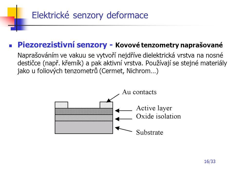 16/33 Elektrické senzory deformace Piezorezistivní senzory - Kovové tenzometry naprašované Naprašováním ve vakuu se vytvoří nejdříve dielektrická vrst