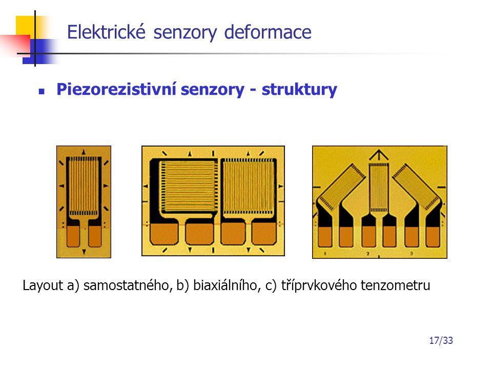 17/33 Elektrické senzory deformace Piezorezistivní senzory - struktury Layout a) samostatného, b) biaxiálního, c) tříprvkového tenzometru