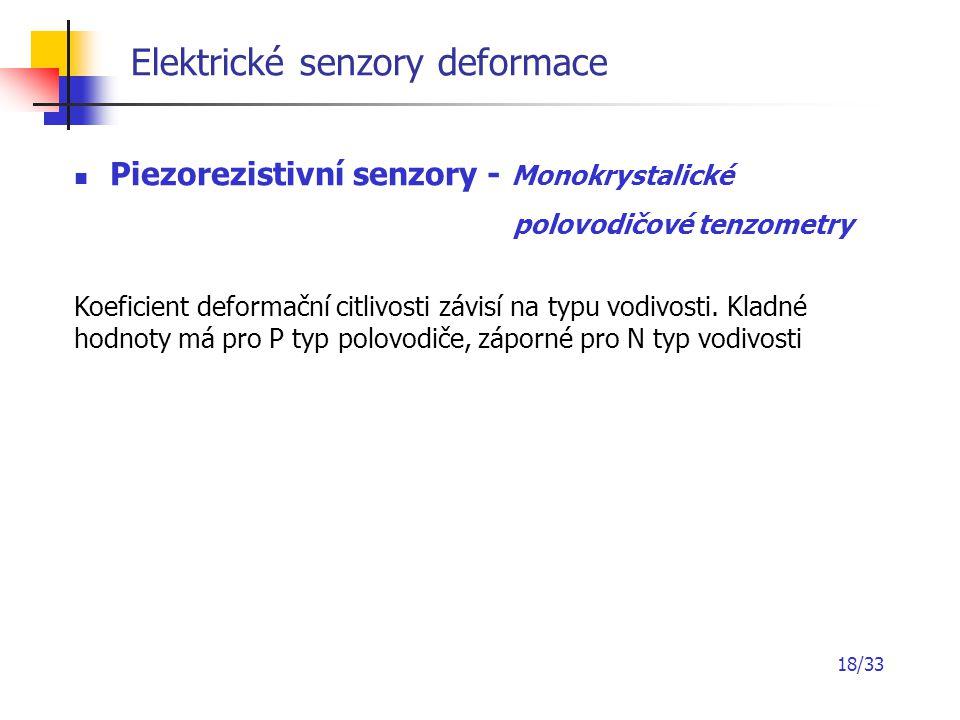 18/33 Elektrické senzory deformace Piezorezistivní senzory - Monokrystalické polovodičové tenzometry Koeficient deformační citlivosti závisí na typu v