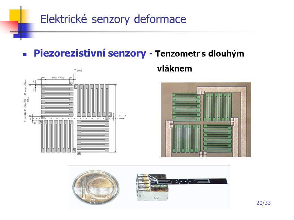20/33 Elektrické senzory deformace Piezorezistivní senzory - Tenzometr s dlouhým vláknem