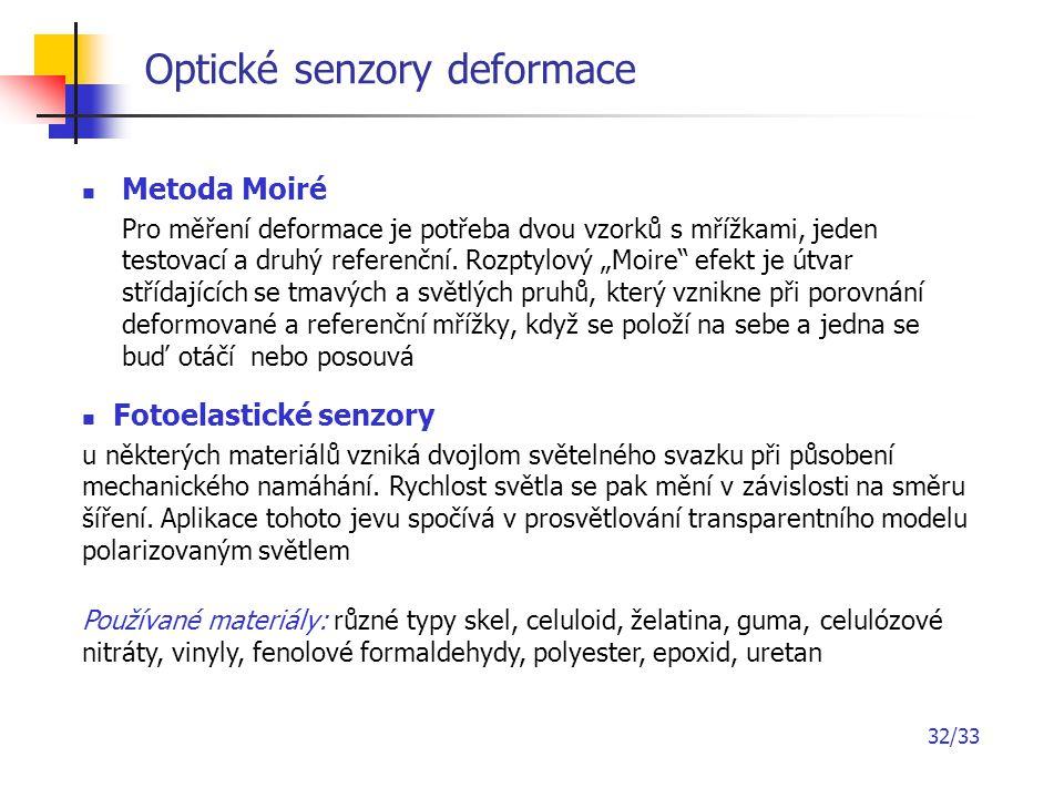 """32/33 Optické senzory deformace Metoda Moiré Pro měření deformace je potřeba dvou vzorků s mřížkami, jeden testovací a druhý referenční. Rozptylový """"M"""
