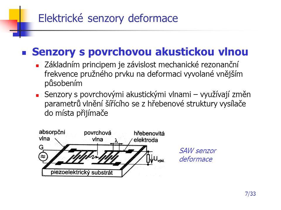 7/33 Elektrické senzory deformace Senzory s povrchovou akustickou vlnou Základním principem je závislost mechanické rezonanční frekvence pružného prvk