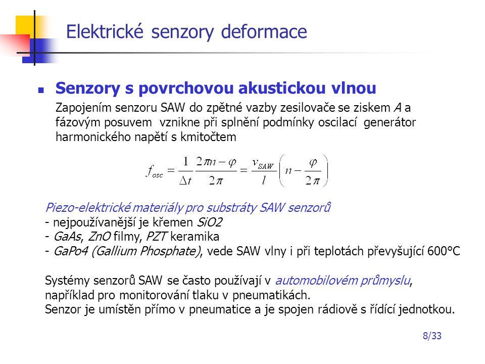 8/33 Elektrické senzory deformace Senzory s povrchovou akustickou vlnou Zapojením senzoru SAW do zpětné vazby zesilovače se ziskem A a fázovým posuvem
