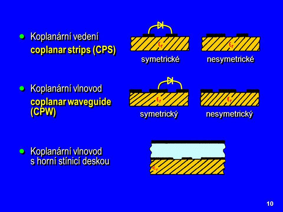 10  Koplanární vedení coplanar strips (CPS)  Koplanární vedení coplanar strips (CPS) symetrickésymetrické nesymetrickénesymetrické  Koplanární vlno