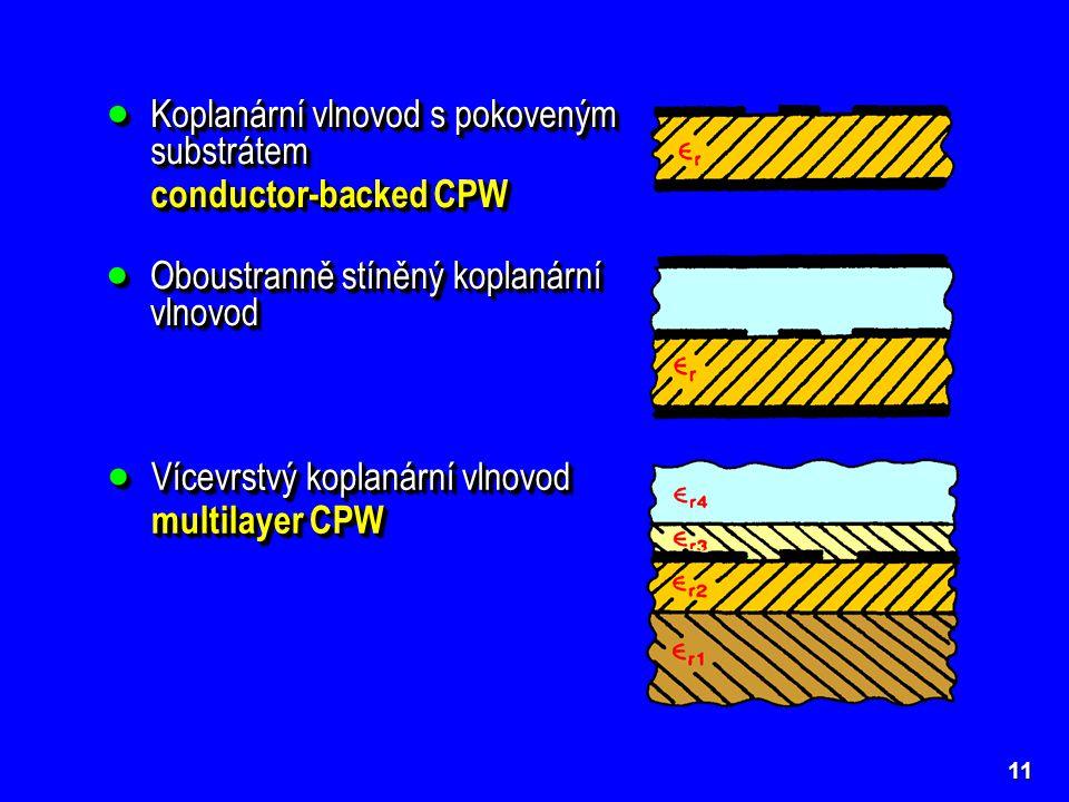 11  Koplanární vlnovod s pokoveným substrátem conductor-backed CPW  Koplanární vlnovod s pokoveným substrátem conductor-backed CPW  Oboustranně stí