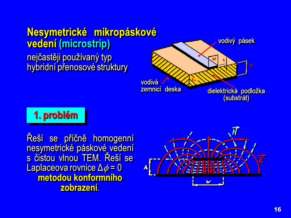 h Nesymetrické mikropáskové vedení (microstrip) nejčastěji používaný typ hybridní přenosové struktury Nesymetrické mikropáskové vedení (microstrip) ne