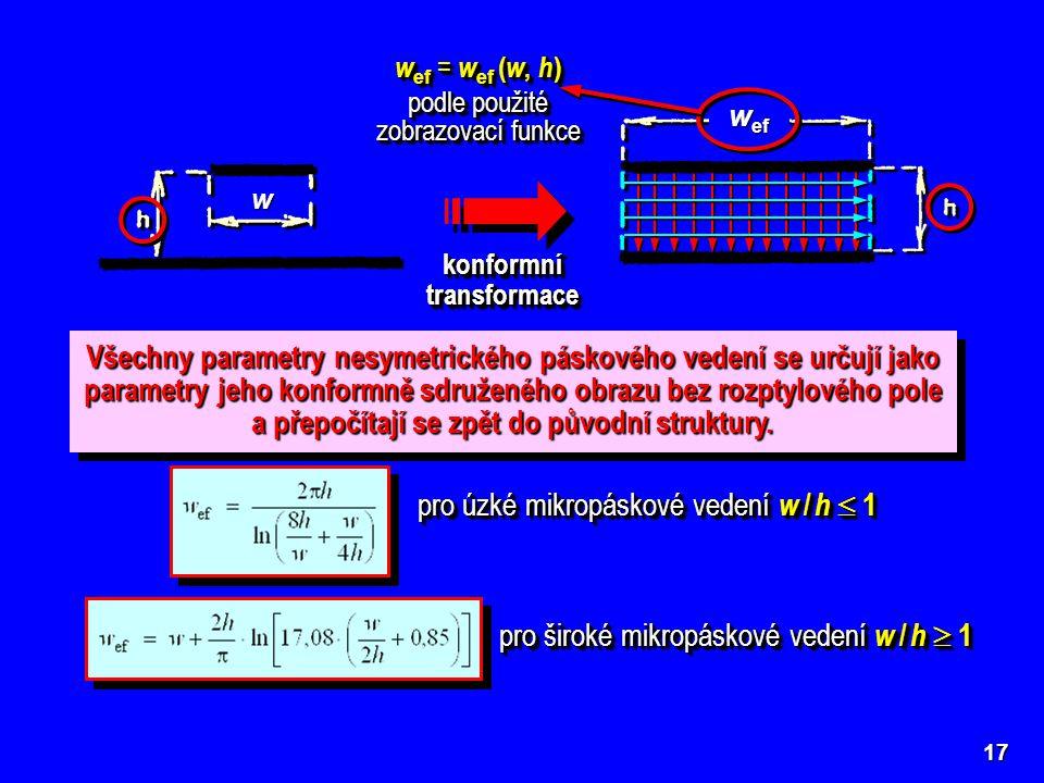 17 konformní transformace w Efektivní šířka nesymetrického mikropáskového vedení s nulovou tloušťkou horního pásku ( t = 0) pro úzké mikropáskové vede