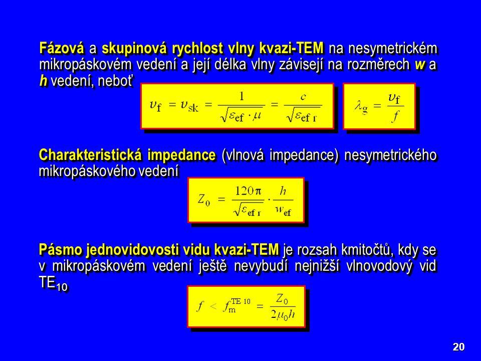 20 Fázová a skupinová rychlost vlny kvazi-TEM na nesymetrickém mikropáskovém vedení a její délka vlny závisejí na rozměrech w a h vedení, neboť Charak