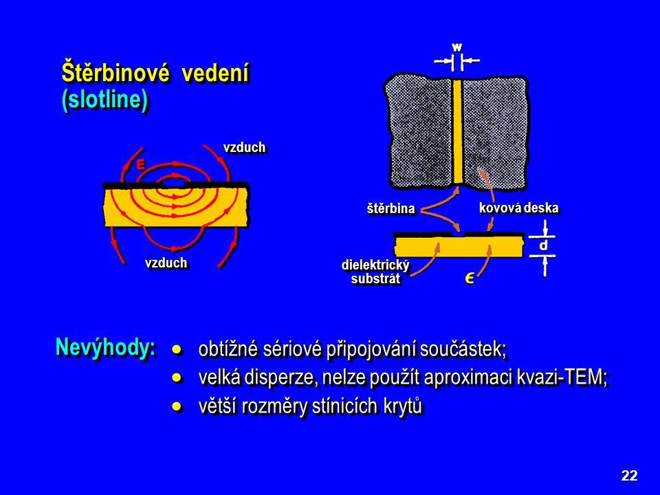 22 Štěrbinové vedení (slotline) dielektrický substrát štěrbinaštěrbina kovová deska vzduchvzduch vzduchvzduch Výhody:Výhody:  snadné paralelní připoj
