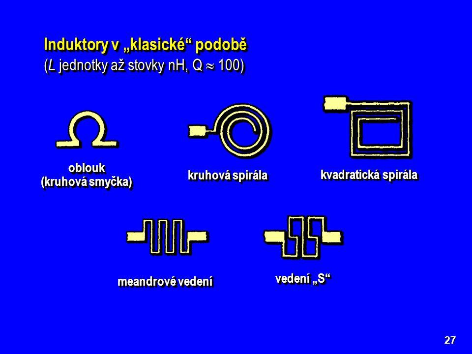 """27 Induktory v """"klasické"""" podobě ( L jednotky až stovky nH, Q  100) Induktory v """"klasické"""" podobě ( L jednotky až stovky nH, Q  100) kruhová spirála"""