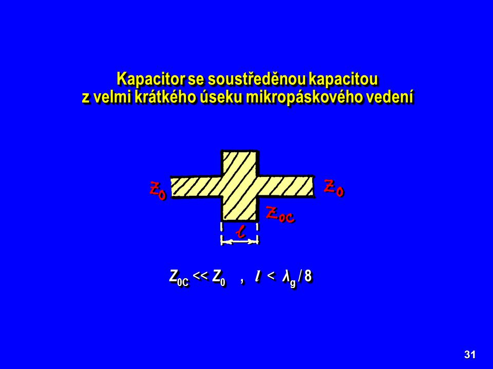 31 Kapacitor se soustředěnou kapacitou z velmi krátkého úseku mikropáskového vedení Kapacitor se soustředěnou kapacitou z velmi krátkého úseku mikropá
