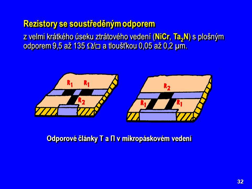 kontaktykontakty odporov ý materiál materiál NiCr 32 Rezistory se soustředěným odporem z velmi krátkého úseku ztrátového vedení ( NiCr, Ta 2 N ) s plo