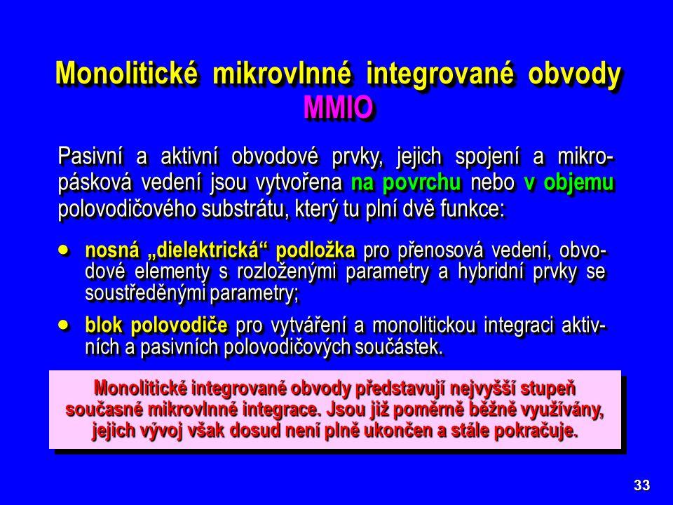 33 Monolitické mikrovlnné integrované obvody MMIO Pasivní a aktivní obvodové prvky, jejich spojení a mikro- pásková vedení jsou vytvořena na povrchu n
