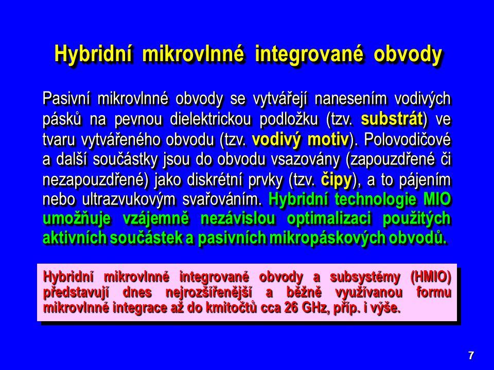 8 Základní typy pasivních hybridních mikrovlnných integrovaných struktur (příčné průřezy) Základní typy pasivních hybridních mikrovlnných integrovaných struktur (příčné průřezy)  Symetrické mikropáskové vedení stripline stripline  Nesymetrické mikropáskové vedení (otevřené) microstrip microstrip  Stíněné nesymetrické mikropásko- vé vedení shielded microstrip  Stíněné nesymetrické mikropásko- vé vedení shielded microstrip